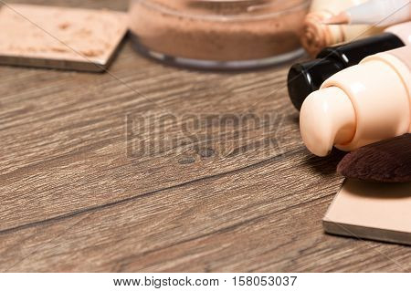 Foundation makeup products with copy space. Shallow depth of field