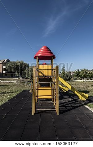 playground wooden plastic and metal games outdoor closeup
