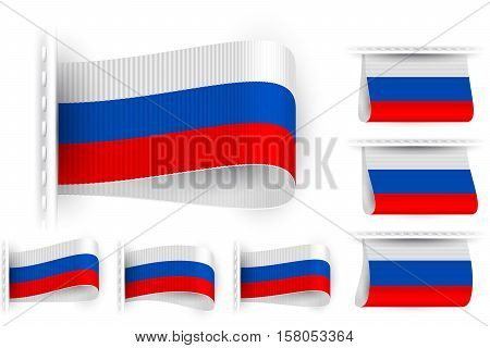 National state flag of Russia; Sewn clothing label tag; Vector icon set Russian Federation flags Eps10