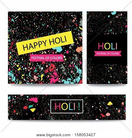 Colorful Indian festival Happy Holi celebrations. Vector background for banner card poster.