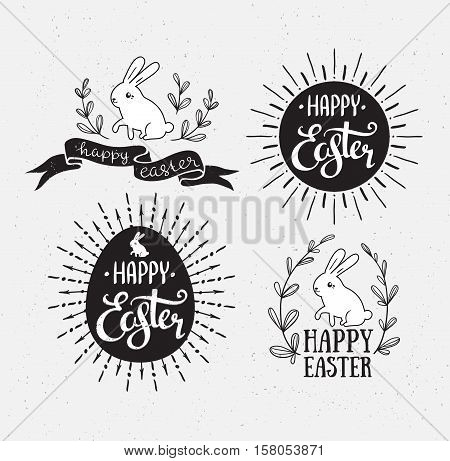 Easter set with lettering sunburst and rabbit. Vector illustration. Happy Easter greeting cards. Grunge effect are isolated.