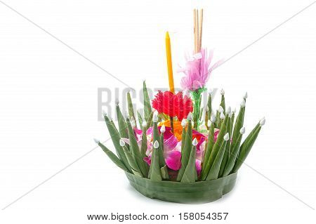 Beautiful krathong made from banana leave Handmade krathong for Loy Krathong Festival