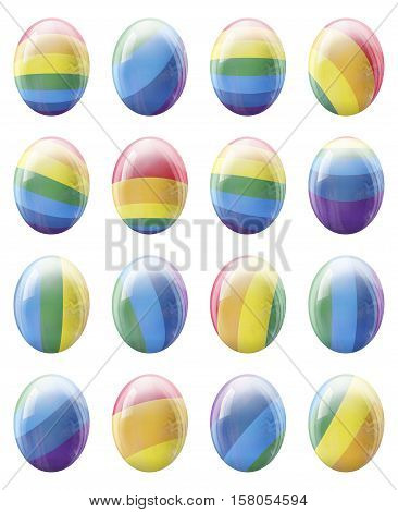 The collection of colorful LGBT Easter eggs.