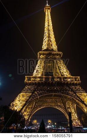 PARIS, FRANCE - OCTOBER 11, 2015: View at famous Tour Eiffel in the night Paris France