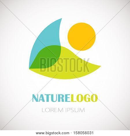Nature logo - fresh green leaf, blue water and orange sun elements on white background