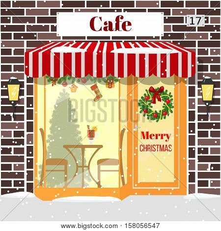 Christmas decorated cafe or coffee shop. Illuminated facade of red bricks with window table chair mulled wine drink wreath garland xmas tree snowflakes. Vector. For postcards prints banner