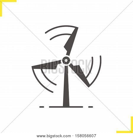 Rotating windmill icon. Drop shadow silhouette symbol. Wind eco energy. Negative space. Vector isolated illustration