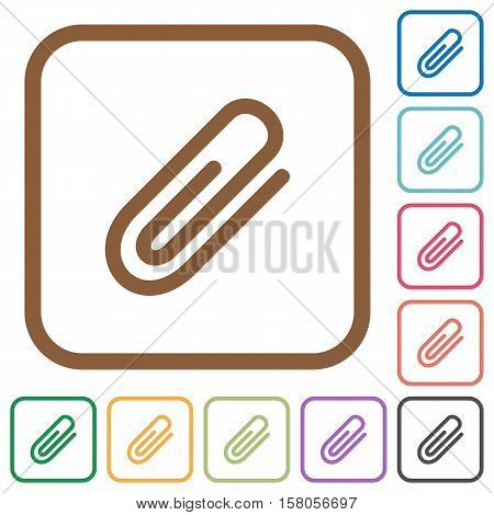 Attachment simple icons in color rounded square frames on white background