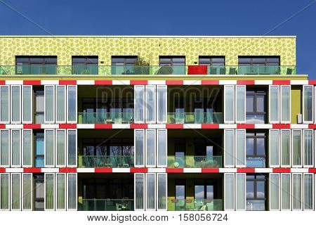 Hamburg, Germany - March 9, 2015: The algae house in Hamburg. This is the first algae powered building in the world equipped with an algae bioreactor façade