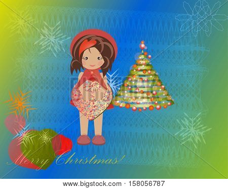 Near the Christmas tree painted girl with heart box in hands Christmas greeting gifts joy