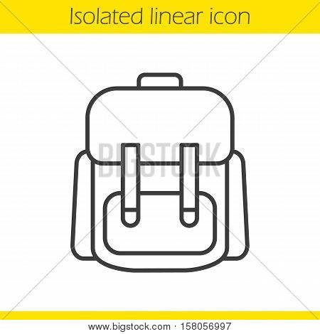 School backpack linear icon. Thin line illustration. Student rucksack. Contour symbol. Schoolbag. Vector isolated outline drawing