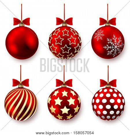 Red christmas balls with bows and pattern on a white background. Vector illustration.