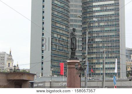 Russia, Moscow 21 May 2016, Stolypin monument at the crossroads of the Krasnopresnenskaya embankment and the street Konyushevskaya