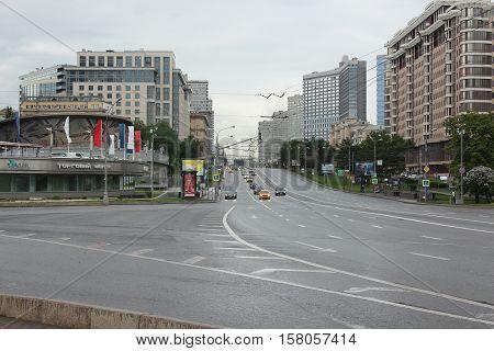 Russia, Moscow 21 May 2016, Crossroads streets New Arbat and Konjushkovskaja