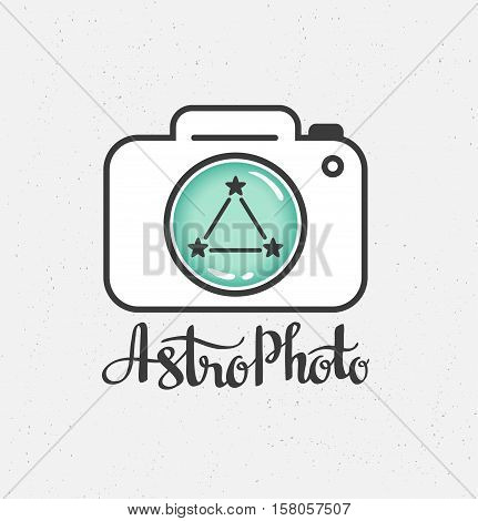 Space Photography label in hipster Style. Vector Illustration.