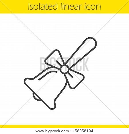 School bell with bow linear icon. Thin line illustration. Contour symbol. Vector isolated outline drawing
