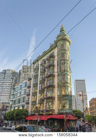 San Francisco Ca USA October 22 2016: The a building viewed from Columbus Avenue