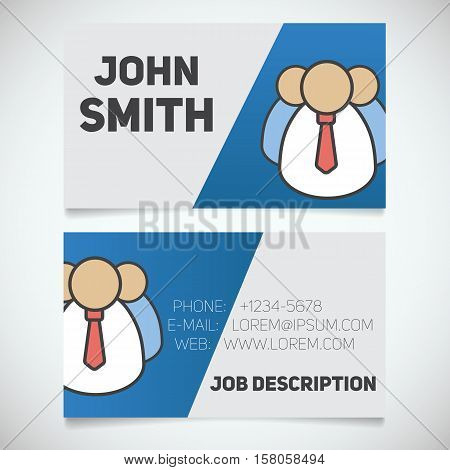 Business card print template with company personnel logo. Easy edit. Manager. Employer. Stationery design concept. Vector illustration