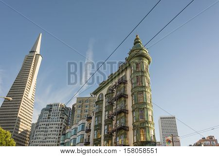 San Francisco Ca USA October 22 2016: Transamerica Pyramid The Coppola building viewed from Columbus Avenue