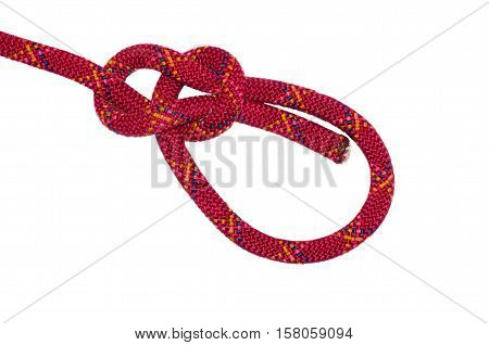 bowline knot red rope. Isolated on white background.