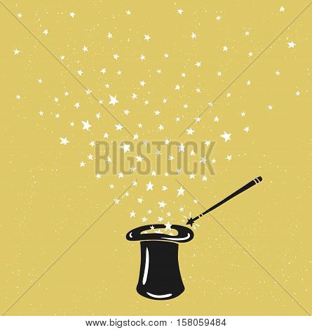 Magic Hat Background with stars dust and magic wand. Vector inspiring design.