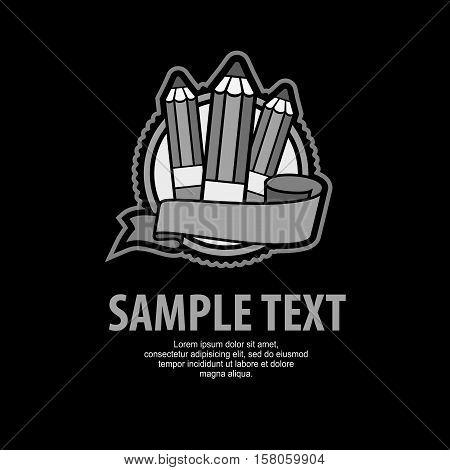 Grey Emblem With Pencils On Black