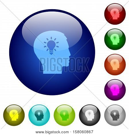 Idea icons on round color glass buttons