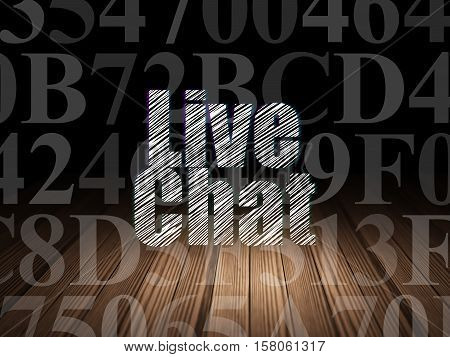 Web development concept: Glowing text Live Chat in grunge dark room with Wooden Floor, black background with  Hexadecimal Code
