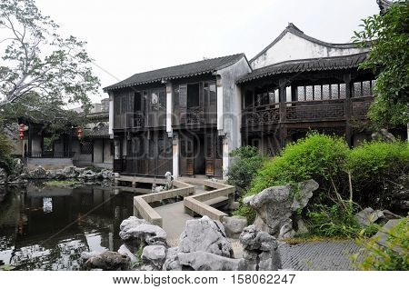 Chinese architecture and within Tongli Town scenic area in Jiangsu Province China.