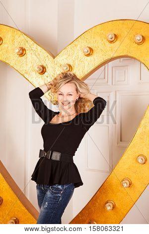 Beautiful blond in black tunic