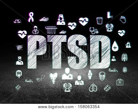 Healthcare concept: Glowing text PTSD,  Hand Drawn Medicine Icons in grunge dark room with Dirty Floor, black background