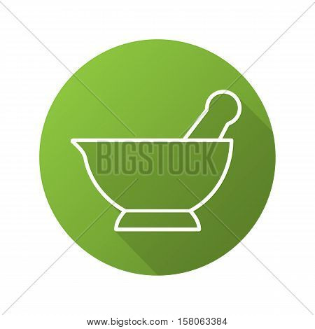 Mortar and pestle flat linear long shadow icon. Naturopathy. Alternative herbal medicine. Vector line symbol