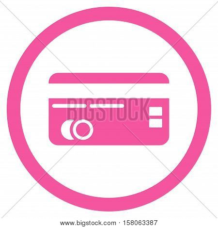 Credit Card vector rounded icon. Image style is a flat icon symbol inside a circle, pink color, white background.