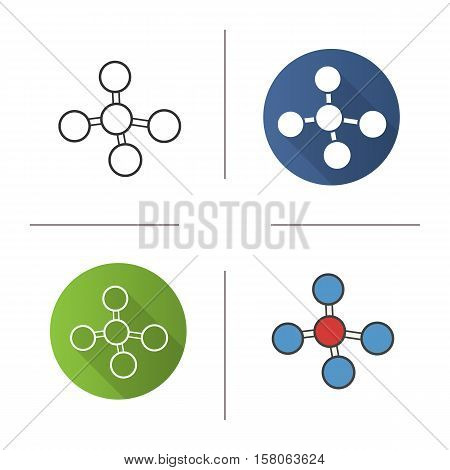 Molecule icon. Flat design, linear and color styles. Molecular structure. Isolated vector illustrations