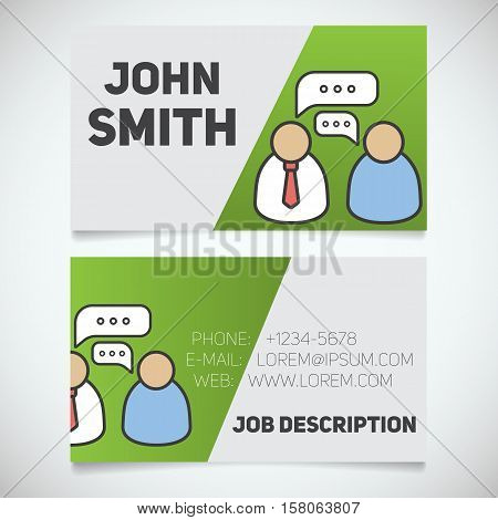 Business card print template with interview logo. Easy edit. Manager. Journalist. Employer. Stationery design concept. Vector illustration
