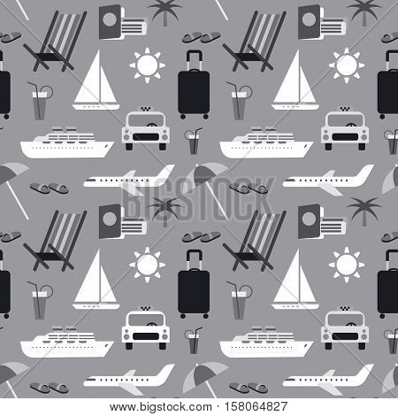 seamless pattern background of summer travel in gray colors