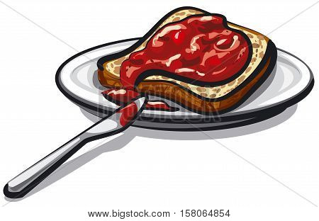 illustration of bread with jam on plate