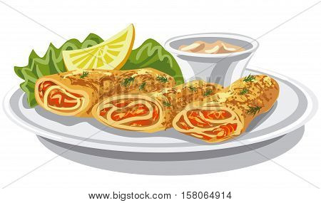 illustration of pancakes with salmon and sauce on plate