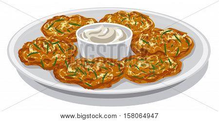 illustration of potato pancakes with sour cream sauce