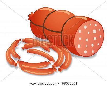 illustration of fresh tasty frankfurters and sausages