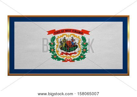 Flag of the US state of West Virginia. American patriotic element. USA banner. United States of America symbol. West Virginian official flag golden frame textured illustration. Accurate size color