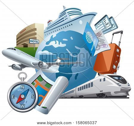 concept illustration of travel and journey travel