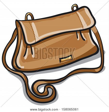 illustration of woman personal modern brown leather bag