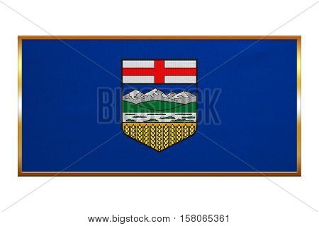 Albertan provincial official flag symbol. Canada banner and background. Canadian AB patriotic element. Flag of the Canadian province of Alberta golden frame textured illustration. Accurate size color
