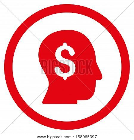 Businessman vector rounded icon. Image style is a flat icon symbol inside a circle, red color, white background.