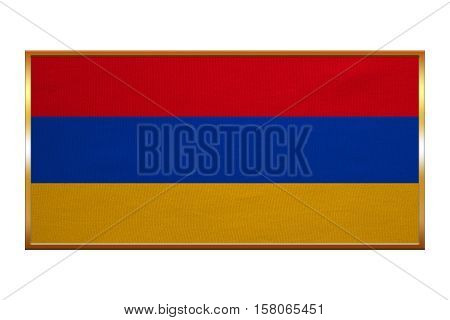 Armenian national official flag. Patriotic symbol banner element background. Correct colors. Flag of Armenia golden frame fabric texture illustration. Accurate size colors