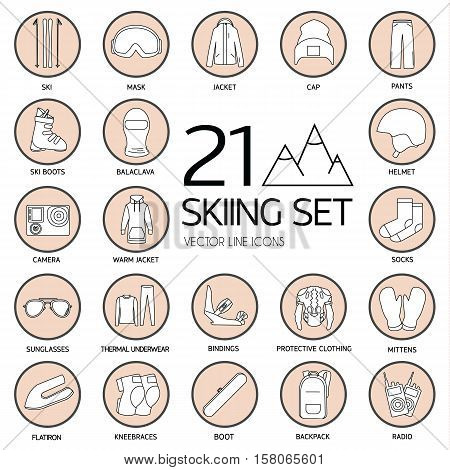 Set icons of skiing isolated on white. Skiing equipment is vector illustration. Vector clip art of Skiing. Skiing equipment outline icon collection
