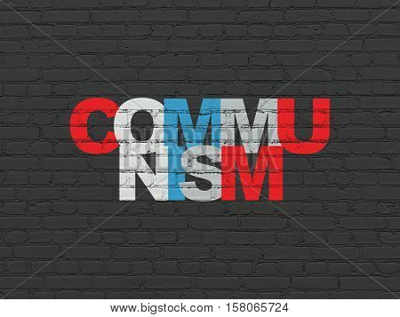 Political concept: Painted multicolor text Communism on Black Brick wall background