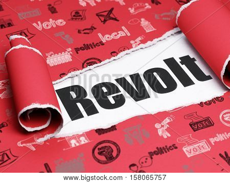 Political concept: black text Revolt under the curled piece of Red torn paper with  Hand Drawn Politics Icons, 3D rendering