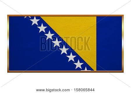 Bosnian and Herzegovinian national official flag. Patriotic symbol banner element background. Correct colors. Flag of Bosnia and Herzegovina golden frame textured illustration. Accurate size color